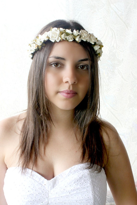 Creamy White Roses Bridal Floral Crown, Woodland, white flower crown, Bohemian, boho floral crown,  bridal headpiece
