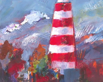 Red and White Lighthouse Original Painting