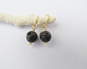 Black Lava Earrings. Black Earrings. Lava Stone Earrings. Simple Dangle Earrings. Volcanic Rock Earthy Jewelry. Everyday Jewelry Gifts