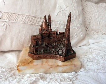 Antique French Paris souvenir sculpture Sacre Coeur Montmartre, arc de triomph, Eiffel Tower, tour d'Eiffel, made in France, on marble base