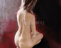 Curves 8 : Pastels on Paper, 26x20, Naked woman kneeling back in the light
