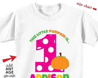 Pumpkin Birthday Shirt or Bodysuit (Girls) - 1st Birthday Shirt Personalized with Child's Name & Age - Pumpkin Fall Party Shirt