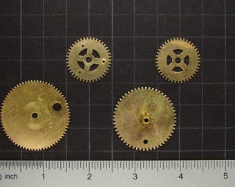 Steampunk Supplies vintage clock movement parts brass gears wheels for industrial sculpture jewelry making craft supplies Scrapbooking 2891