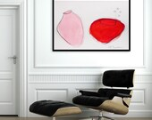 Large Mason Jars, Abstract painting, MADE TO ORDER, Acrylic Painting 28X40, Abstract Painting, Abstract Art, Pink Painting, red