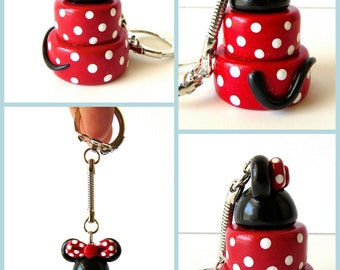 Minnie Mouse Cake Keychain Handmade In Polymer Clay