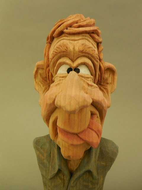 Hand carved wood caricature bust