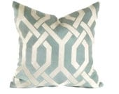 Robin Egg Blue Trellis Decorative Pillow Accent Pillow Throw Pillow 18x18 20x20 22x22 or 14x20 Lumbar Pillow P Kaufmann Pillow  Pillow Sham