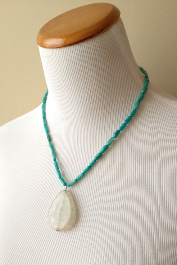 Aqua Dyed Fire Agate Tear Drop Pendant and Teal Bamboo Coral Beads - Caribbean Daiquiri Necklace - Gypsy Boho Hippie Necklace