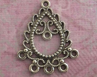 Antique Silver Connector 7 Hole Earring Jewelry Maker - 2 Pieces, Jewelry Making Findings - KarPenaEnterpises - 5554