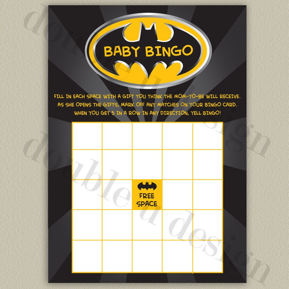 instant download batman baby bingo baby shower by doubleudesign