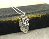 Anatomical Heart Necklace, Sterling Silver Heart Pendant 18 20 22 Inch Sterling Silver Ball Chain