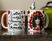 """Cher Mug -- """"Another Beautiful Morning In Cheradise"""" -- Cher in Roses -- Quote Mug -- Campy gift novelty mug -- Cher Coffee Cup -- Funny mug"""
