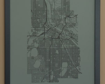 Minneapolis City Map Poster - Black and Gray