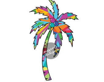 Colorful Palm Tree Decal - Colorful Geometric Triangles Pattern Beach Bumper Sticker Vinyl Car Decal Cute Laptop Decal Orange Purple Pink
