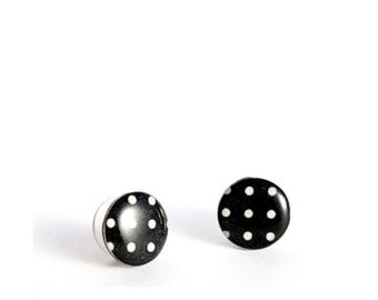 black stud earrings black and white post earrings polka dot studs resin ear studs black earrings rockabilly jewelry cute earrings pin up