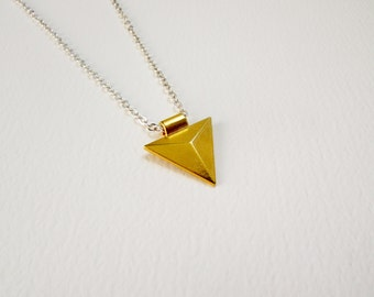 Gold Triangle Charm Necklace