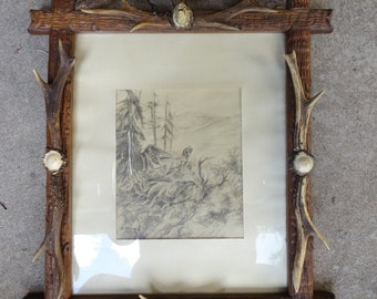 Antler Frame withCarved Wild Boar and signed Pencil Drawing of Stag and Hunting Dog