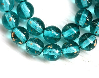 Teal Gold Czech glass beads with golden sprinkles, round spacers, druk - 6mm -30Pc - 1122