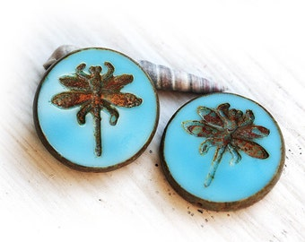 Czech glass Dragonfly beads - Turquoise Blue Picasso - table cut, large, round, tablet shape, rustic - 23mm - 2Pc - 1491
