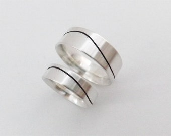 Couples Matching Bands with Black Wave - 8mm & 6mm Ring Set Comfort Fit - Handcrafted in Argentium Silver
