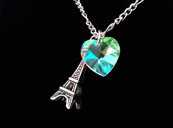 The Sophie- Paris J'adore Sterling Silver Eiffel Tower and Aurora Borealis Swarovski Crystal Heart Necklace