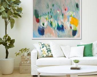 "large cream Print of ABSTRACT  PAINTING with light blue and pink  ""Shimmer Shimmer"""