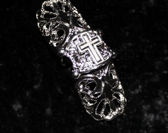 Filigree Silver & Black Inverted/Cross) Reversible Armor Ring