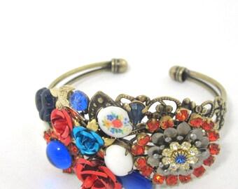 Assemblage Cluster Cuff Bracelet OOAK Flower Collage Bracelet