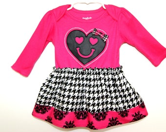 CLEARANCE SALE baby girls dress Pink Black Long Sleeve Bodysuit dress Housdstooth Pink Black Damask - Last One 12M