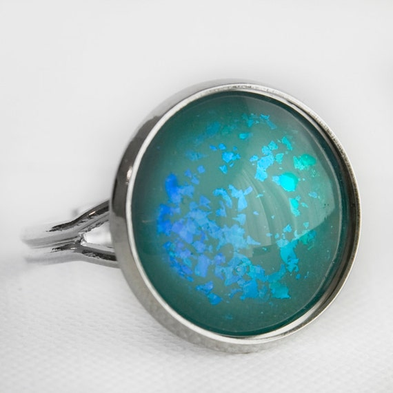 Under the Sea Ring in Silver - Blue and Green Turquoise Mermaid Holographic Cocktail Ring
