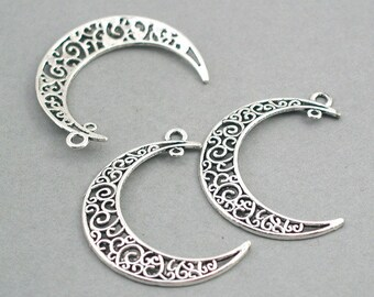 SALE 4 Filigree Crescent Moon Charms Antique Silver 4pcs zinc alloy pendant beads 31X40mm CM0741S