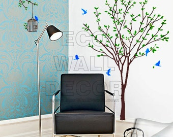 PEEL and STICK Removable Vinyl Wall Sticker Mural Decal Art - Giant Tree with Blue Birds