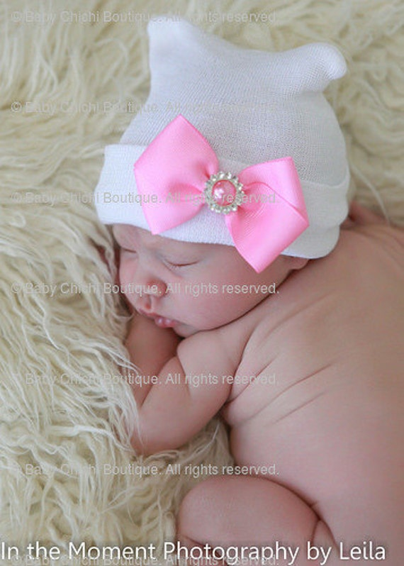 Baby Girl Hat - White with Pink Bow (newborn hospital hat, newborn girl hat, newborn beanie, newborn hat with bow)