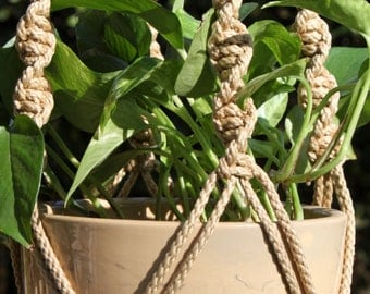 CIRQUE - Tan Handmade Macrame Plant Hanger with Wood Beads - 6mm Braided Poly Cord in JUTE