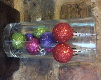3 for 2 Handmade Small Christmas Glitter Bauble Earrings