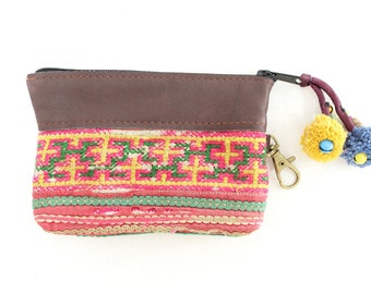Handmade Coin Pouch Bag Embroidered Vintage Fabric With Genuine Leather (BG290L.758)