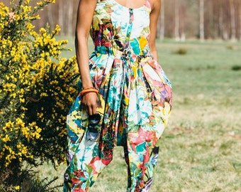 Tropical Strapped Harem Jumpsuit Teal