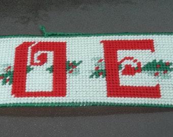 "Vintage Large 16 1/2""  Handmade Noel Banner, Christmas Wall or Door Hanging, Plastic Canvas, Pretty !"