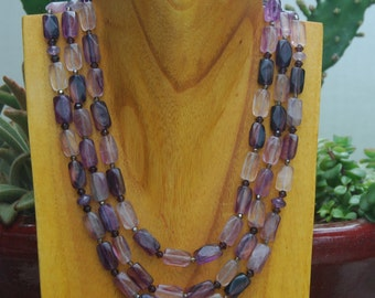 Triple Strand Flourite Necklace in Shades of Purple
