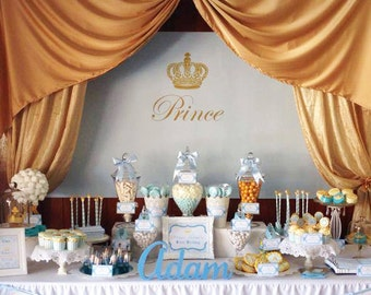 """PRINCE Backdrop Banner Printable Artwork - Print Your Own - 60""""w x 40""""h. Perfect for a 1st Birthday or Boys Baby Shower"""