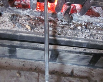 Short Curly Hand Forged Fire Place Poker, Blacksmith Made