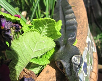 Hand Forged Garden Gator, Garden Art, Yard Art, Blacksmith Made