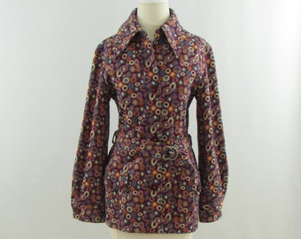 On Sale Vintage 1960s Mod Polka Dotted Belted Top in Colorful Plum - Medium by Glen of Michigan