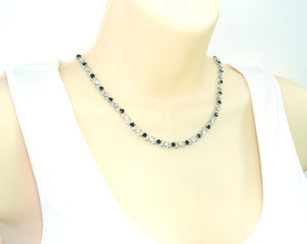 Simple Black and Crystal Rhinestone Choker - Delicate and Sparkling Black and Clear Chain in Feminine Choker Necklace