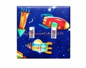 Rocket Ship Light Switch Plate Cover DOUBLE  / Space Astronaut Boys Room Bedroom / Royal Blue