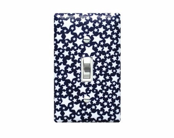 Star Light Switch Plate Cover / Navy Blue and White Nursery Decor / Baby Gender Neutral Unisex / Circus Starlettes