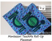 Set of TWO Montessori Railroad Teach Me Placemat Free Personalization by Messy Kids Designs