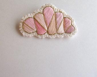 Pink cloud geometric brooch hand embroidered with a gold lining onto cream muslin and cream felt Fall fashion