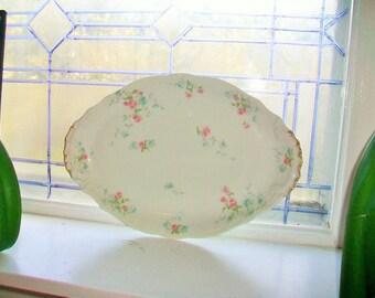 Theodore Haviland Limoges Serving Platter Pink Floral Decor Vintage 1930s