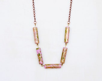 Ceramic Tube Necklace, Pink Clay Necklace, Pink And Gold, Geometric Necklace